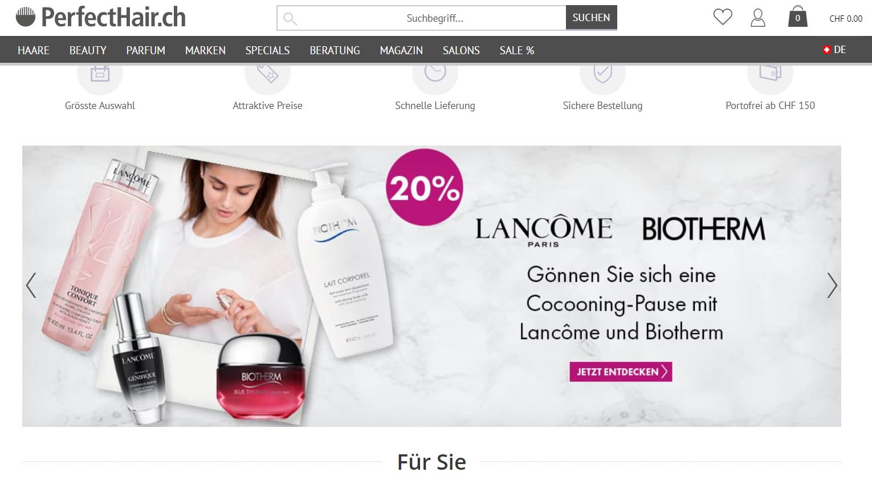 Startseite von perfecthair.ch 25-Feb-2021