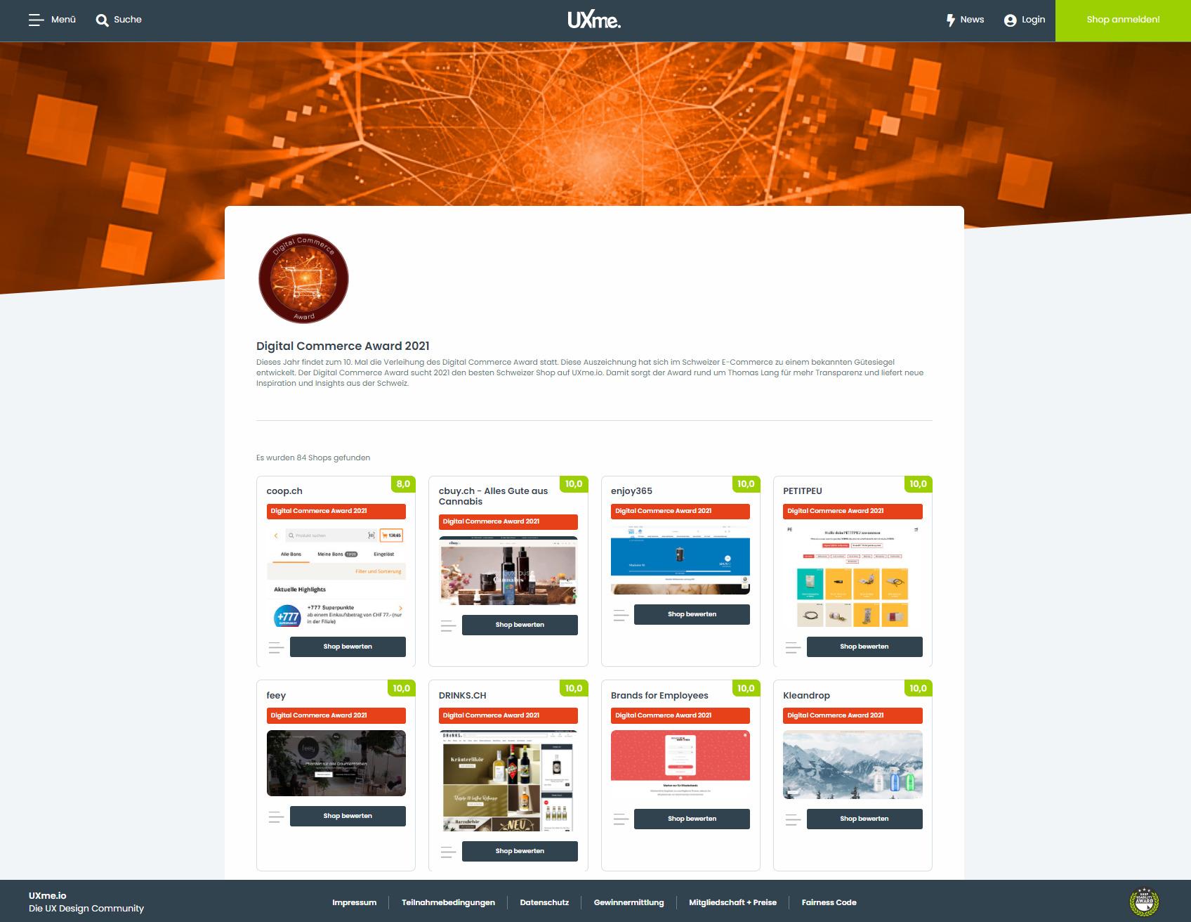 Die Profile aller teilnehmenden Onlineshops finden sich auf der Digital Commerce Award Seite der UXme-Plattform