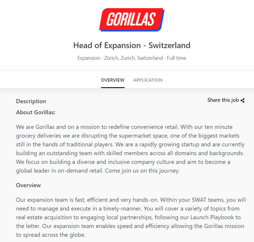 """Job Angebot von Gorillas für """"Head of Expansion - Switzerland"""" - Screenshot 15.5.2021 22:30"""