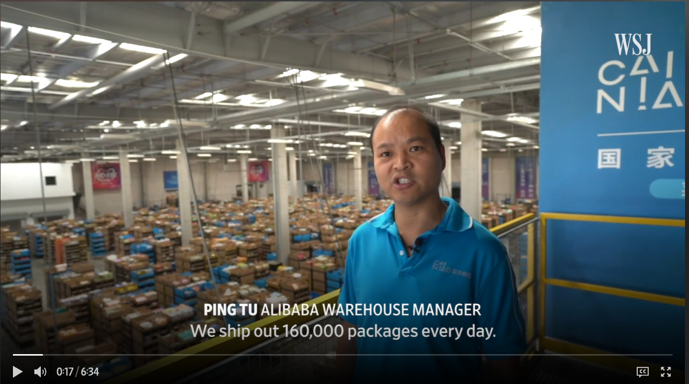"""""""Alibaba Challenges Amazon With a Promise: Fast Global Shipping"""" - Quelle: WSJ"""