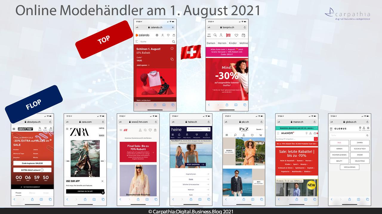 Mobile Startseiten der grössten Schweize Online-Modehändler am 1. August 2021, dem Schweizer Nationalfeiertag