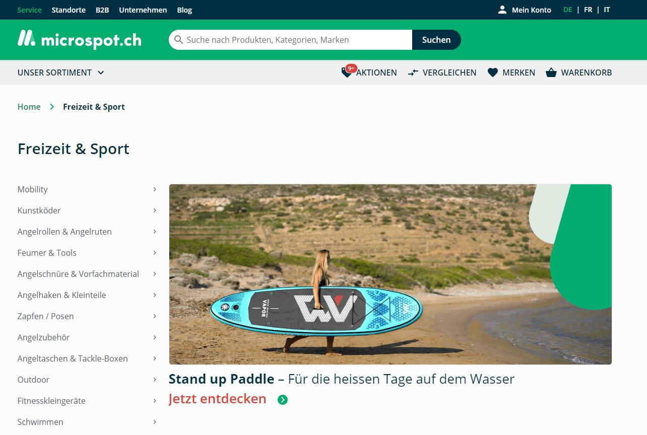 Freizeit & Sport Sortiment bei microspot.ch