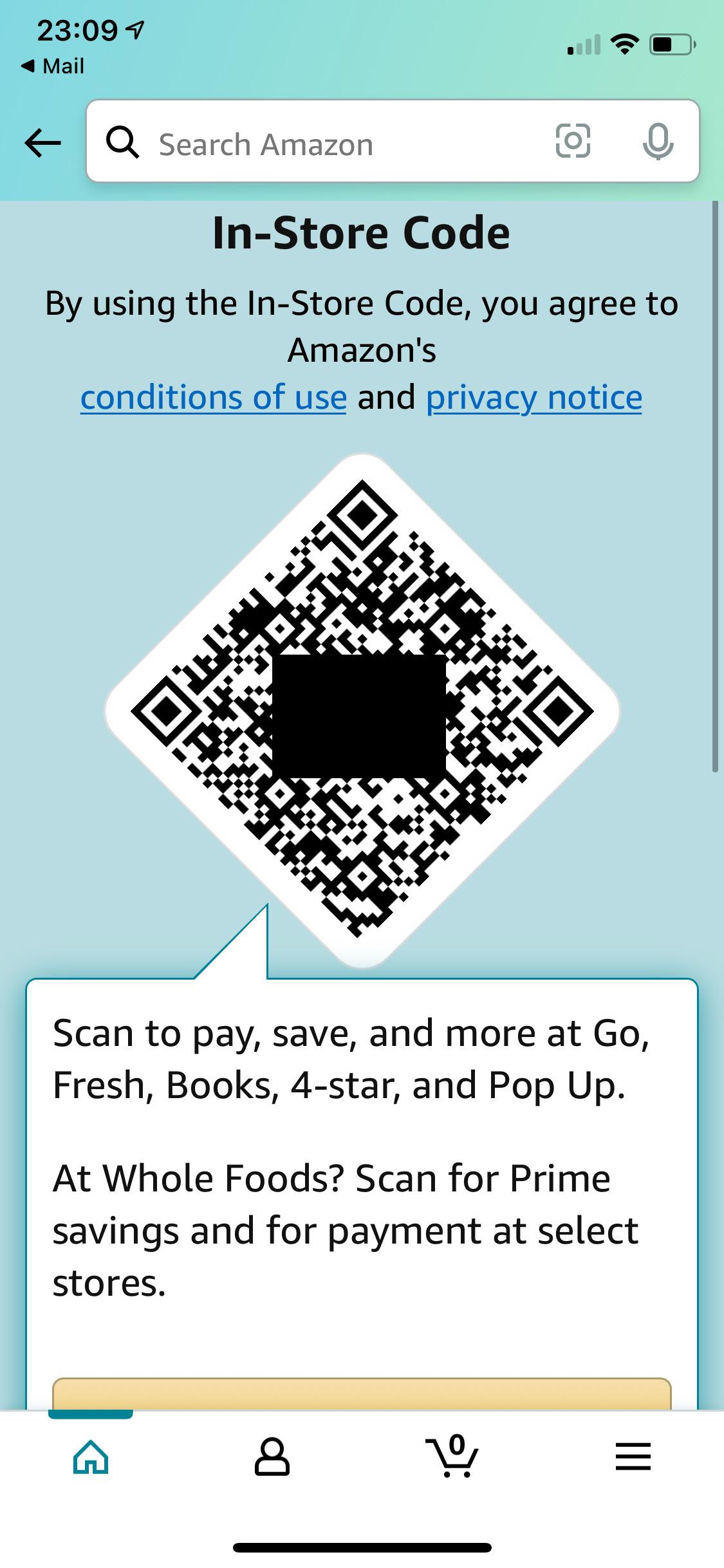 Amazon Fresh Supermarkt: Registrierung mit In-Store-Code in der regulären Amazon App - Bild: Thomas Lang